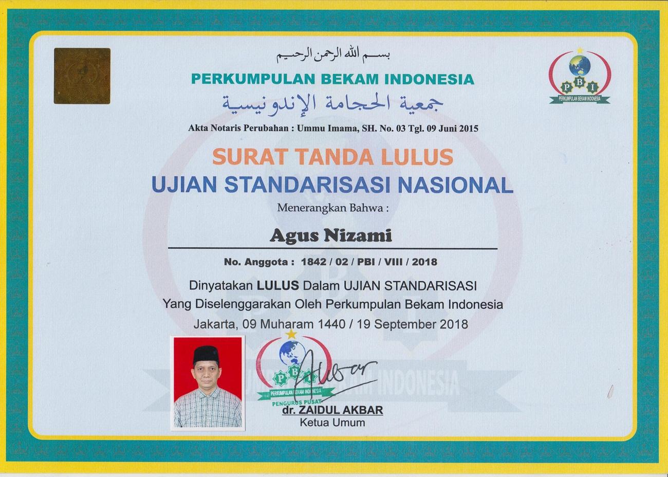 Sertifikat Bekam PBI (Perkumpulan Bekam Indonesia)